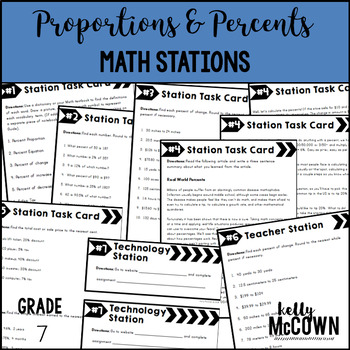 Middle School Math Stations: Proportions & Percents