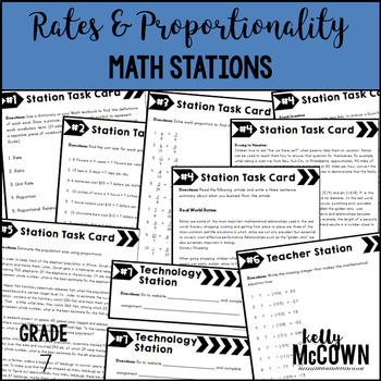 Middle School Math Stations: Rates & Proportionality