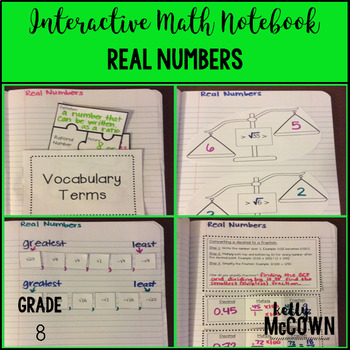 Interactive Math Notebook: Real Numbers {Grade 8}