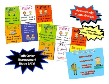Math Stations Small Group Automated Rotation Powerpoint *NOW with 5  Stations