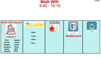 Math Centers Smart Board (activities and student names to move to each station)