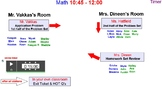 Math Centers Smart Board—various slides & student names to