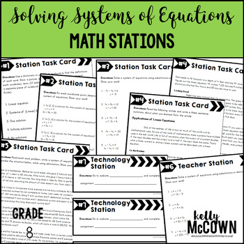 Middle School Math Stations: Solving Systems of Linear Equations