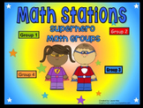 Superhero Themed Math Stations automated powerpoint for small group math