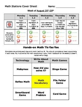 Math Stations Tic Tac Toe