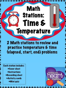 Math Stations: Time and temperature (task cards)