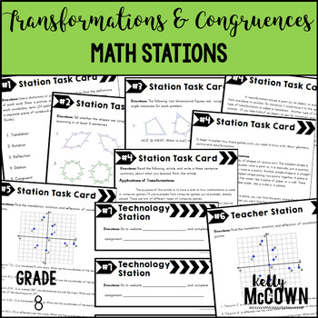 Middle School Math Stations: Transformations and Congruence