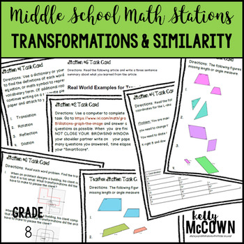 Middle School Math Stations: Transformations and Similarity