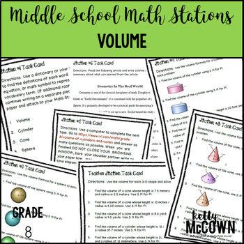Middle School Math Stations: Volume