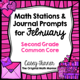 Math Stations and Journal Prompts for February: Second Grade Common Core
