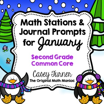 Math Stations and Journal Prompts for January: Second Grade Common Core
