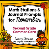 Math Stations and Journal Prompts for November: Second Grade Common Core