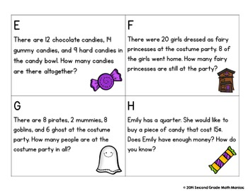 Math Stations and Journal Prompts for October: Second Grade Common Core