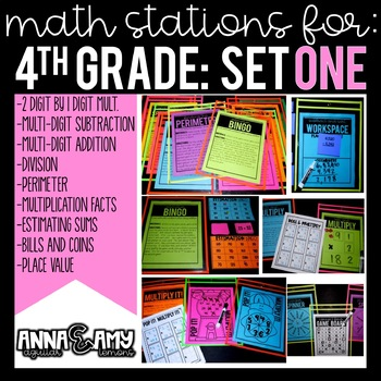 4th Grade Math Stations:  Set One