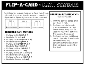 Math Stations for Applying Multiplication and Division ~ Flip-A-Card