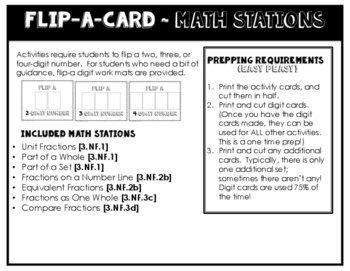 Math Stations for Fractions ~ Flip-A-Card