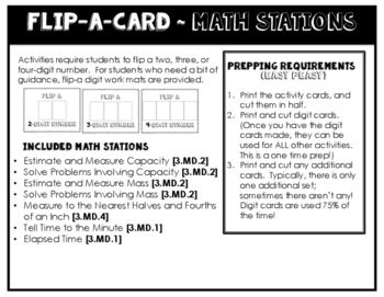 Math Stations for Measurement ~ Flip-A-Card