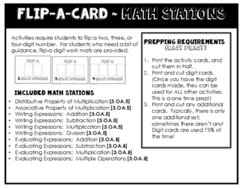 Math Stations for Multiplication Properties and Equations ~ Flip-A-Card