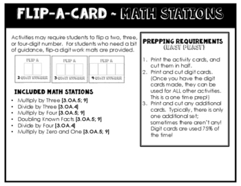 Math Stations for Multiplication and Division (0,1,3, and 4s) ~ Flip-A-Card