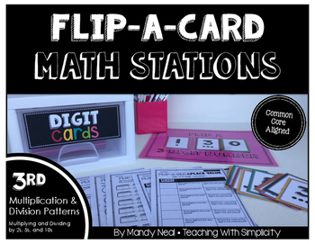 Math Stations for Multiplication and Division Patterns (2,5,10) ~ Flip-A-Card