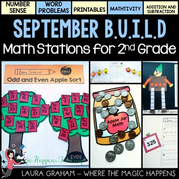BUILD September Math Centers for Second Grade Common Core