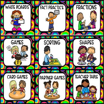 Math Stations or Centers Posters with Fun Bright Circles