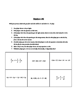 Math Stations (solving linear equations review)