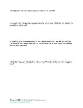 Math Statistics Worksheet - Empirical Rule HSS.ID.A.4