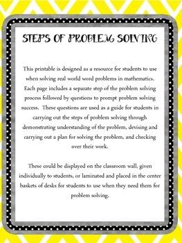 Math Steps of Problem Solving Printables