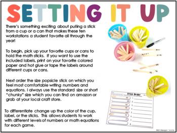 Math Sticks!  Ten Engaging Games for K-2