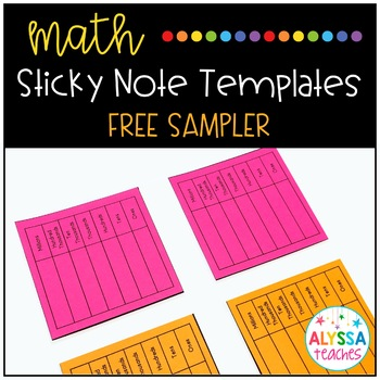 Math Sticky Notes Templates Sampler