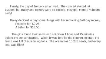 Math Story: Haley's Concert