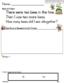Math Story Problems.. Add to 5 Insect Unit ** Read, Draw, Answer It!