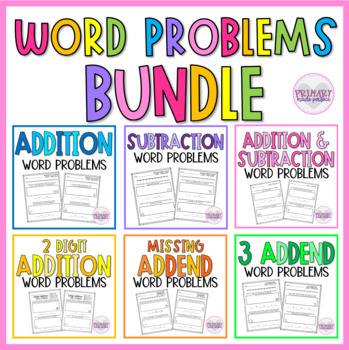 Math Story Problems BUNDLE- Addition, Subtraction, Missing Addend