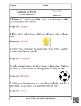 Math Story Problems in English and in Spanish
