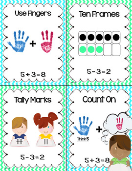 Math Strategies Posters and Practice Sheets BUNDLE (Addition and Subtraction)