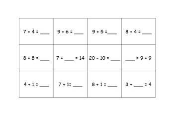 Math Strategies 4 in a Row Game - Addition to 20
