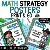Math Strategies {Addition and Subtraction} Mini-Anchor Charts Blue/Green