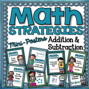 Math Strategies {Add and Subtract} Mini-Anchor Charts Blue/Green