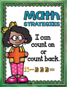 Math Strategies Add and Subtract Mini-Anchor Charts Blue/Green