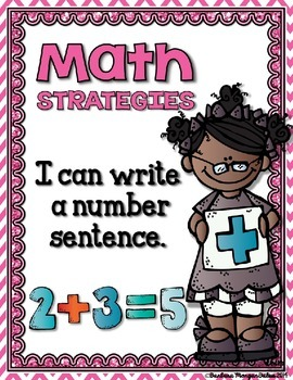 Math Strategies {Addition and Subtraction} Mini-Anchor Charts PINK