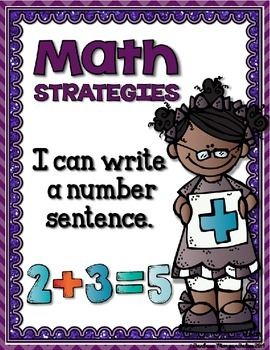 Math Strategies {Addition and Subtraction} Mini-Anchor Charts PURPLE