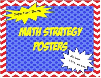 Math Strategies Black and White superhero theme