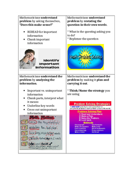 Math Strategies Cards for Students