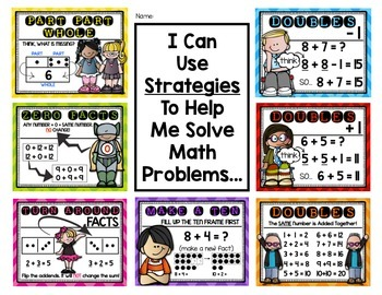 math strategy math posters for addition first grade. Black Bedroom Furniture Sets. Home Design Ideas