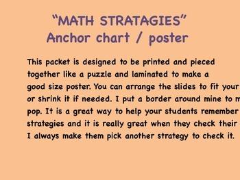 Math Strategies anchor chart, poster.