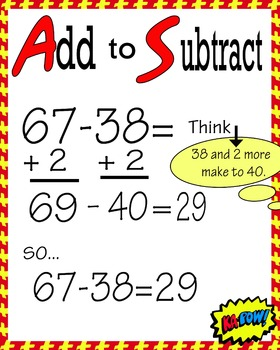 Math Strategy Add to Subtract Poster