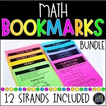 Math Strategy Bookmarks | Student Math Bookmarks | Bookmarks Bundle
