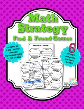 Math Strategy Find A Friend Games - Common Core