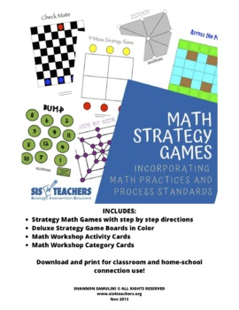 Math Strategy Games CD Download: Incorporating CCSS 8 Math Practices DOWNLOAD
